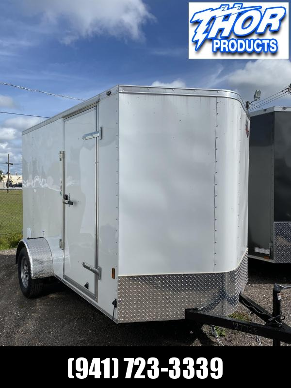 NEW 6X10 .030 White Trailer with Double Rear Doors and side door with flushlock & barlock