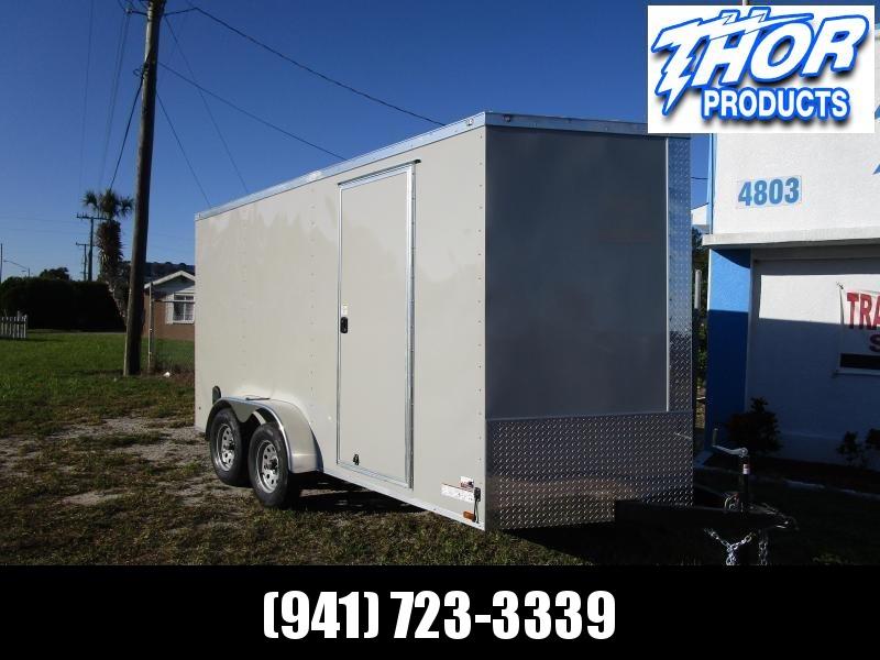NEW 7 x 14 TA Enclosed Trailer V-nose .030 DOVE GRAY Ramp 7' INTERIOR HEIGHT!! UTV GOLF CART HAULER