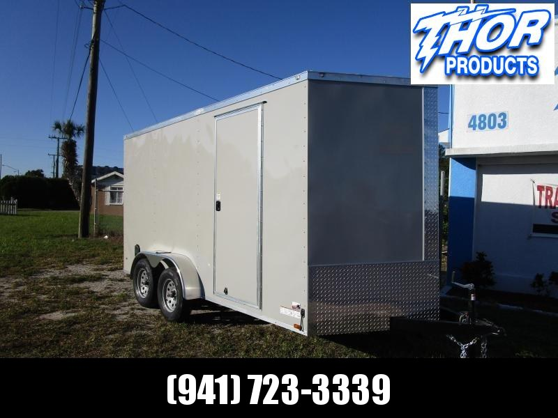 NEW 7 x 14 TA Enclosed Trailer V-nose .030 DOVE GRAY Ramp 7' INTERIOR HEIGHT!! UTV GOLF CART HAULER