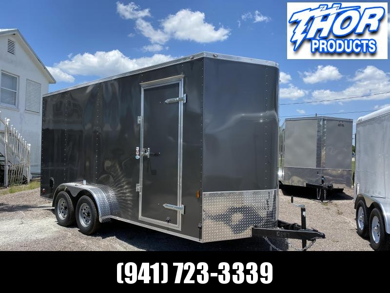 "7X16 TA Trailer V-nose Ramp CHARCOAL GRAY w/7'3"" Interior Height!  UTV HAULER"