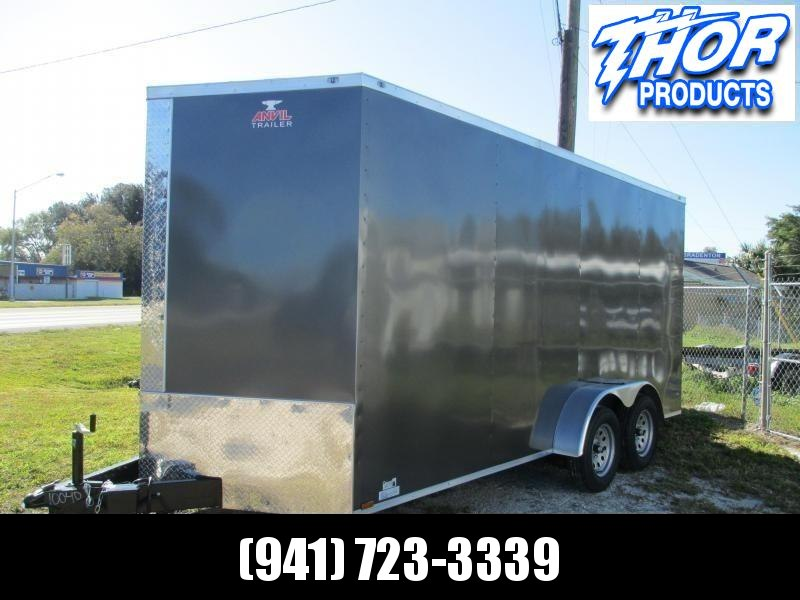 NEW 7x16 Enclosed Trailer Charcoal color 7' Interior Height for UTV hauling w/Ramp and side door!!