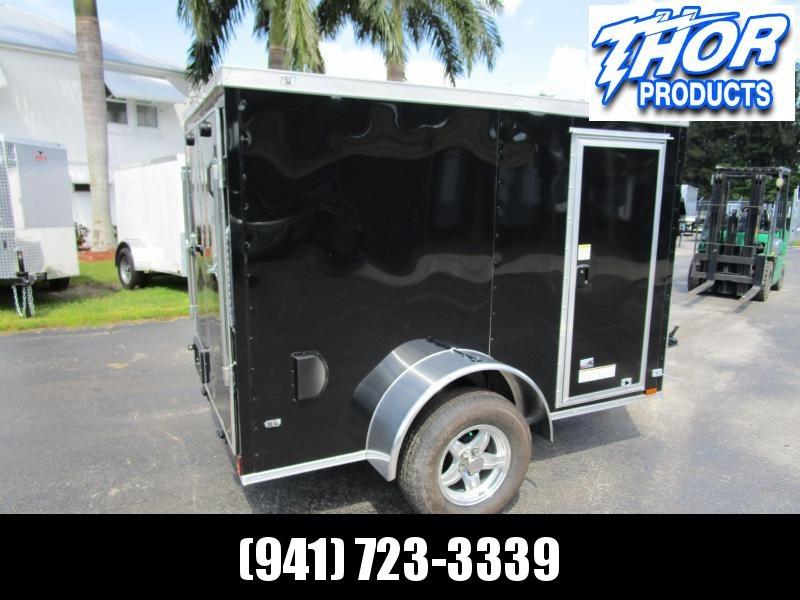 5x8 V-nose Trailer Ramp door and Side Door BLACK w/Aluminum rims