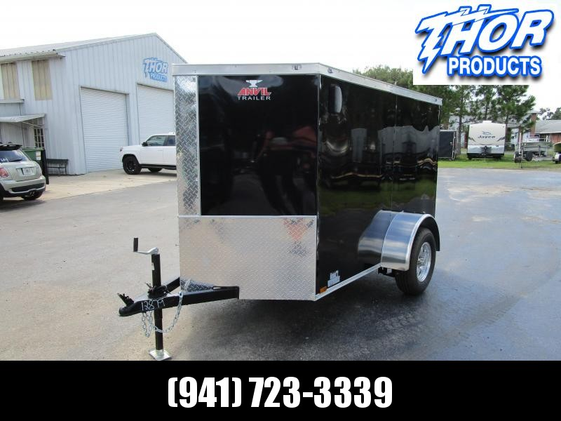 5x8 V-nose Trailer Ramp door and Side Door BLACK w/Aluminum rims