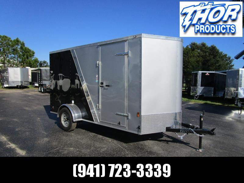 6X12 SILV/BLACK 2-TONE TRAILER W/SIDE DOOR  AND REAR RAMP