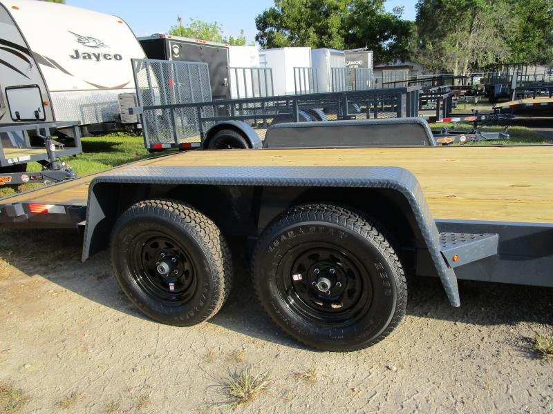 NEW 18' 7K Car Trailer Gray with Black rims LED Lights