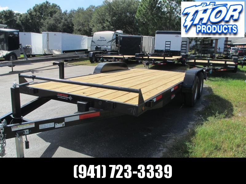 NEW 7X18 10K Car Hauling Trailer * Ramps * LED lights * Spare Mount