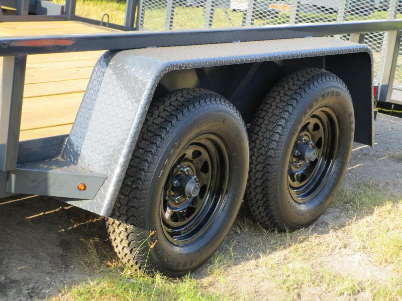 "NEW 6'10"" x 16' TA Utility Trailer Tube top and Uprights and 2ft dovetail GRAY Black wheels"