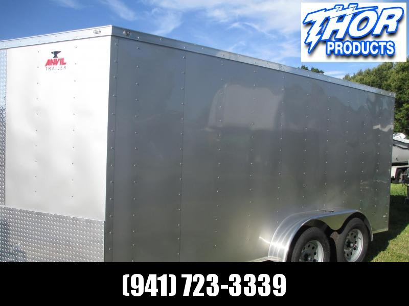 NEW 7x16 Trailer SILVER w/Ramp and side door!!