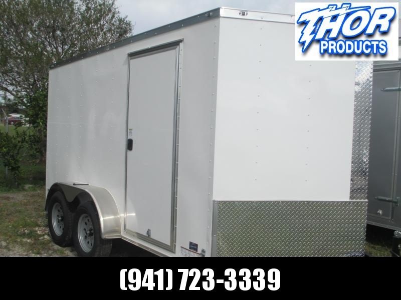 NEW 7 x 14 TA Enclosed Trailer V-nose White w/Ramp door