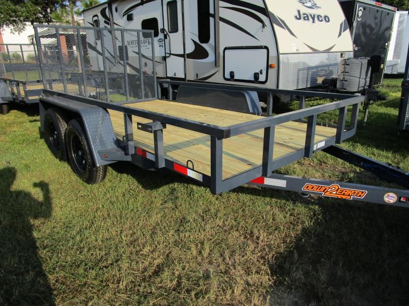 "6'4"" x 12 TA Utility Trailer W/2 axle brakes Ramp Tube Top GRAY LED Lights"