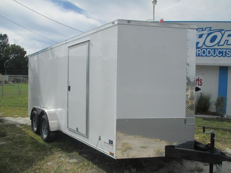 7 x 16 TA Enclosed Trailer White V-nose with Ramp and side doors