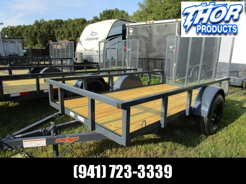 5 x 10 SA Utility Trailer with Tube Top Ramp LED Lights GRAY