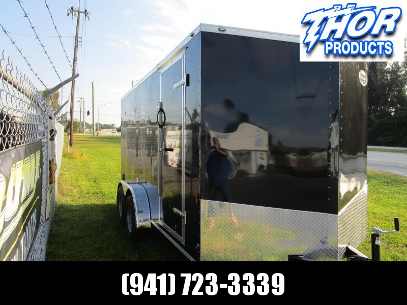 NEW 7X14 TA Trailer V-nose ramp BLACK 1 Piece Roof