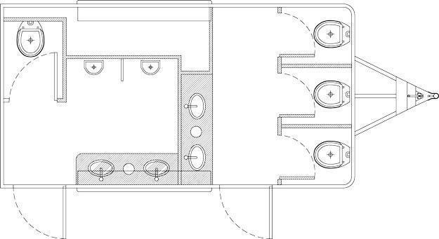 106A LuxuryLav Wide Body Ranier Multi Stall Restroom Trailer