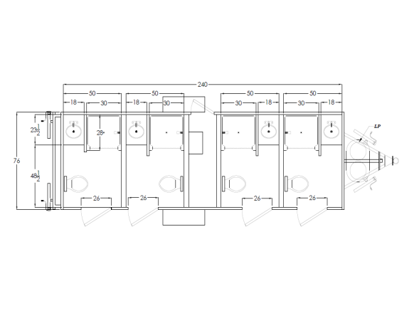 104 LuxuryLav 4 Stall Combo RestroomTrailer