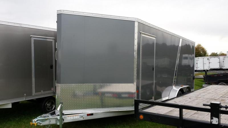 2015 mission 7x18 enclosed snowmobile trailer front ramp. Black Bedroom Furniture Sets. Home Design Ideas