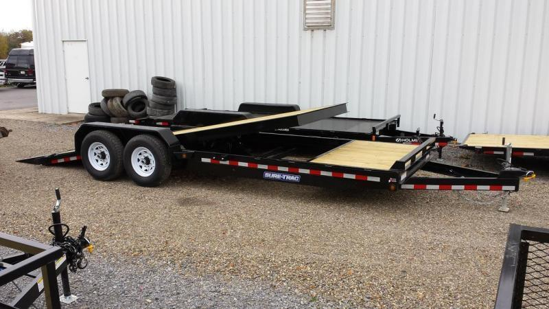 2019 Sure-Trac 7x18+4 partial tilt equipment trailer -14k -LED