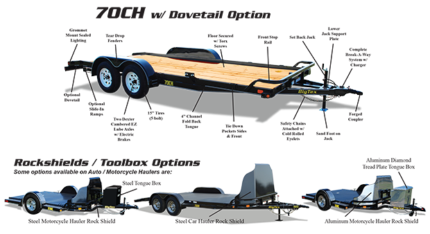 70CH 18' Big Tex Car Hauler Equipment Trailer Race Car Trailer Rear Dovetail with Slide in Ramps