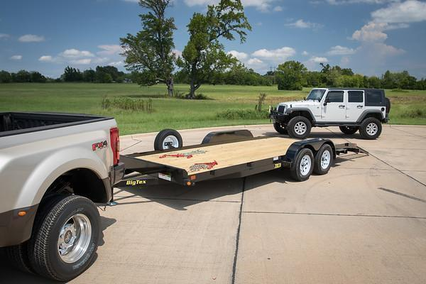 70CH 16' Big Tex Car Hauler Equipment Trailer Race Car Trailer Rear Dovetail with Slide in Ramps