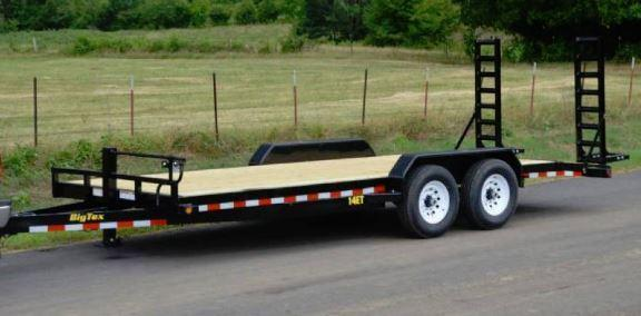 14ET Heavy Duty BIG TEX 20' TANDEM AXLE EQUIPMENT TRAILER W/Knee Ramps