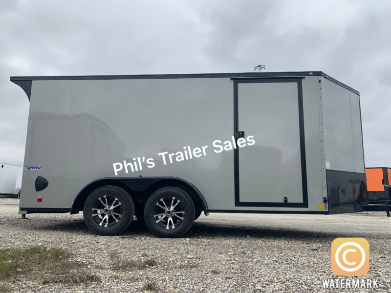 Continental Cargo 7x14+ 3 DOVE GRAY Black out motorcycle trailer Enclosed  Motorcycle Trailer