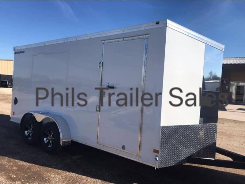 SILVER  Wells Cargo Slant Nose Enclosed Cargo Trailer