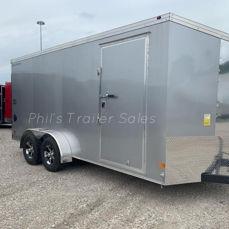 SILVER  Wells Cargo Slant Nose Enclosed Cargo Trailer