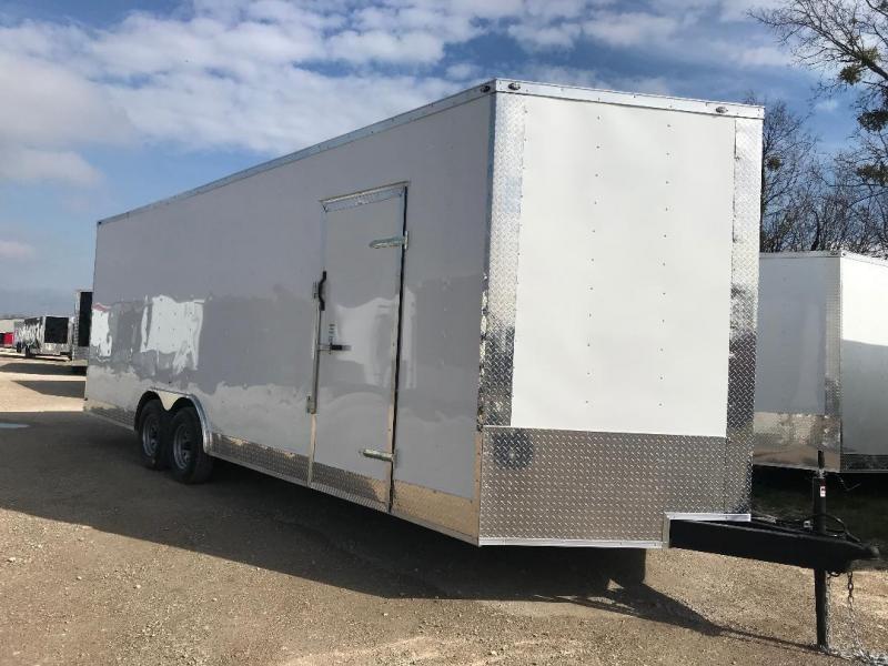 85x20 + 2 v nose 7 FT INTERIOR  Car hauler Enclosed Cargo Trailer