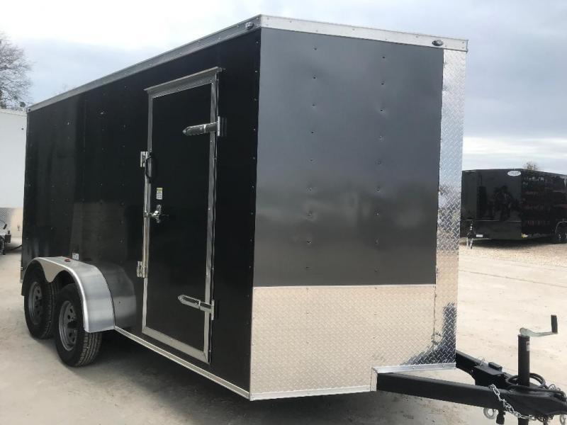 "Texas Select 7x14 2 v nose 6'6"" CHARCOAL  Enclosed Cargo Trailer"