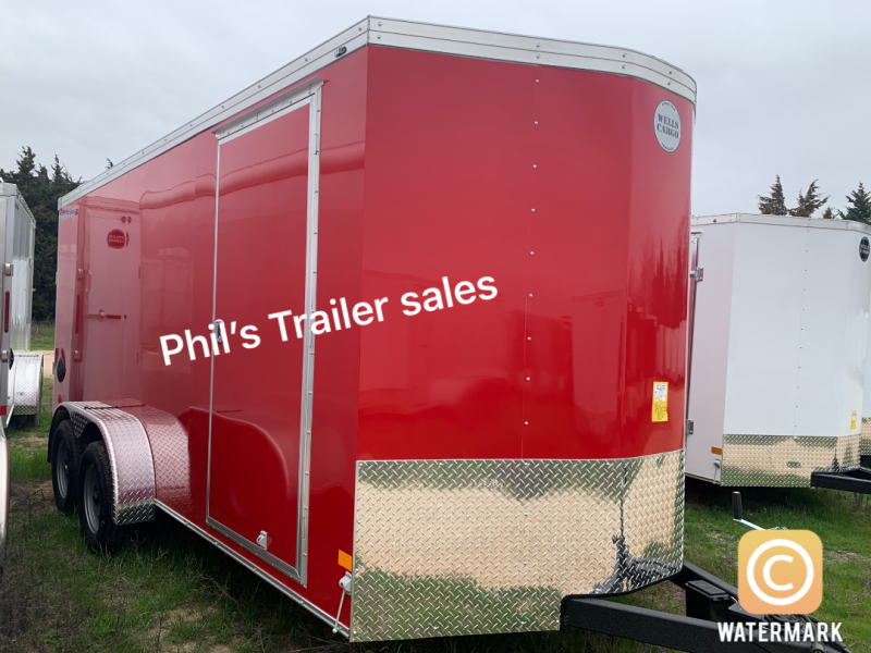 Wells Cargo RED 7X16 + V ENCLOSED  TRAILER COMMERCIAL GRADE ROAD FORCE Enclosed Cargo Trailer