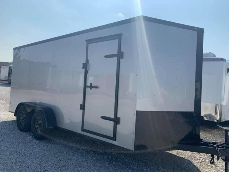 "ENCLOSED TRAILER 7x16 2 v nose 6'6"" interior  SILVER BLACKOUT Enclosed Cargo Trailer"