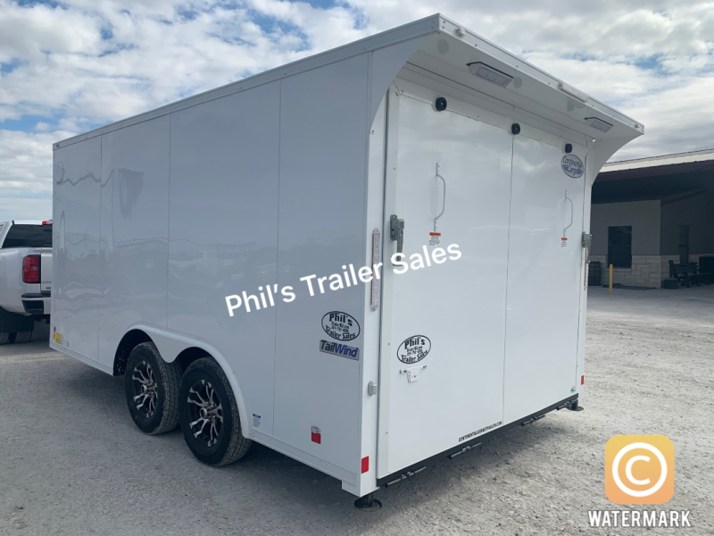 MOTORCYCLE TRAILER 8.5x14+ 3 v   WHITE OUT trim ENCLOSED  Motorcycle Trailer