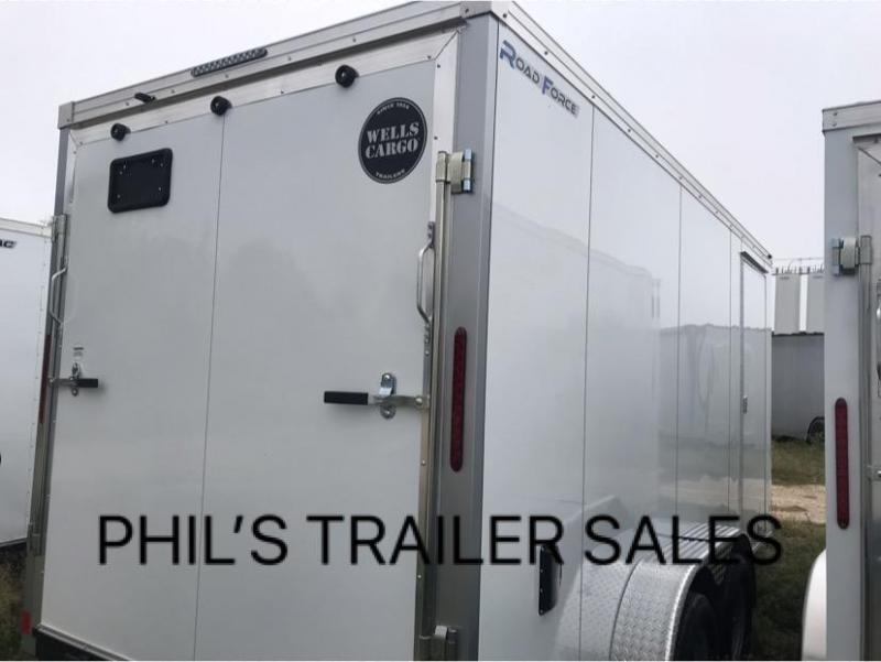 Wells Cargo 7X14 + V 7 FT interior COMMERCIAL GRADE ROAD FORCE Enclosed Cargo Trailer