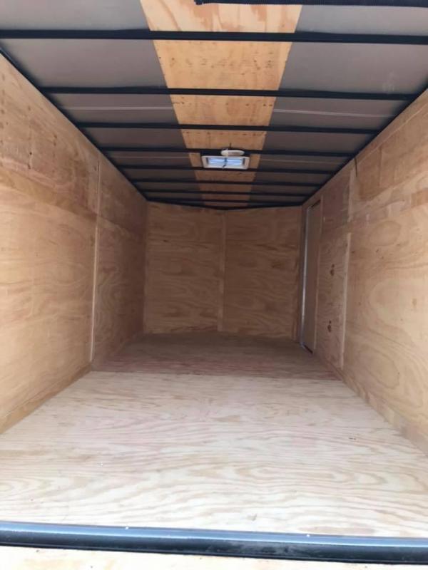"""ENCLOSED TRAILER 7x16 2 v nose 6'6"""" interior WHITE   BLACKOUT Enclosed Cargo Trailer"""