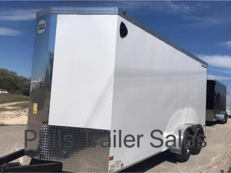 2019 Wells Cargo COMMERCIAL GRADE  7X16  + V NOSE 7 FT INTERIOR ROAD FORCE V  Nose Enclosed Cargo Trailer
