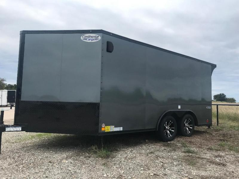 Continental Trailers 8.5x14+ 3 v silver  BLACKED OUT trim LOADED Motorcycle Trailer