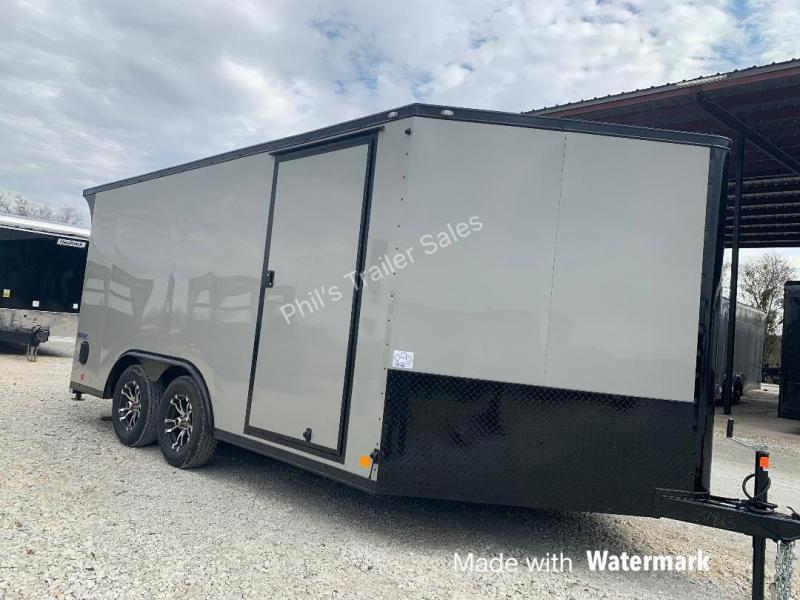 MOTORCYCLE TRAILER 8.5x14+ 3 v DOVE   BLACKED OUT trim ENCLOSED  Motorcycle Trailer