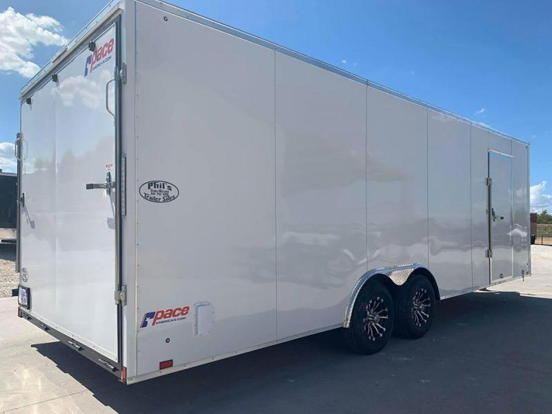 Pace American 8.5X28 7' ALUMINUM WHEELS  Slant Nose Enclosed Cargo Trailer