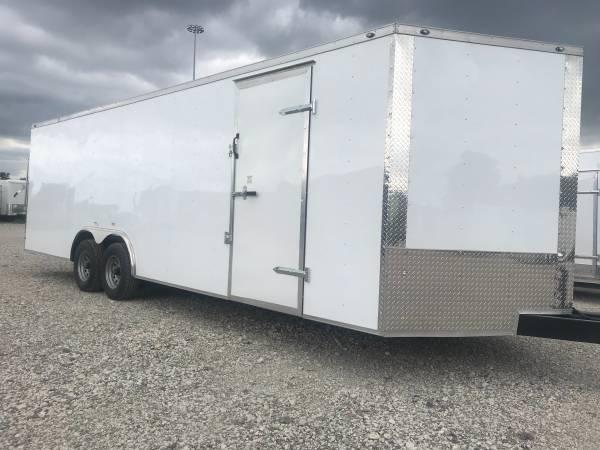 85x28+ 2 v nose 5200 lb axles Car hauler Enclosed Cargo Trailer