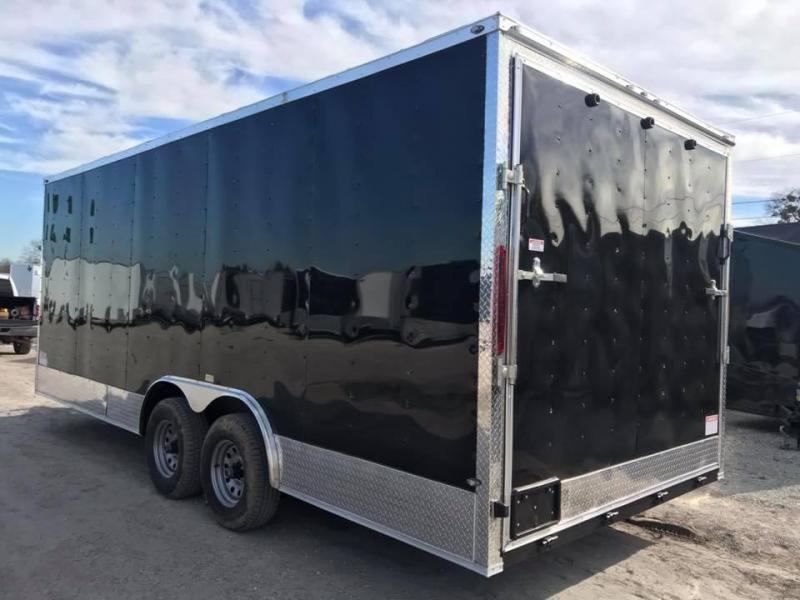 85x20 + 2 v nose 7 FT INTERIOR  axles Car hauler Enclosed Cargo Trailer