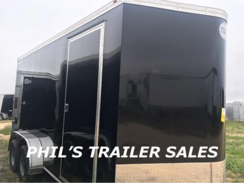 Wells Cargo BLACK 7X14 + V 7 FT interior COMMERCIAL GRADE ROAD FORCE Enclosed Cargo Trailer