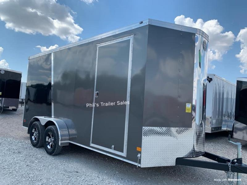 Wells Cargo COMMERCIAL GRADE  7X16  + V NOSE 7 FT INTERIOR ROAD FORCE V  Nose Enclosed Cargo Trailer