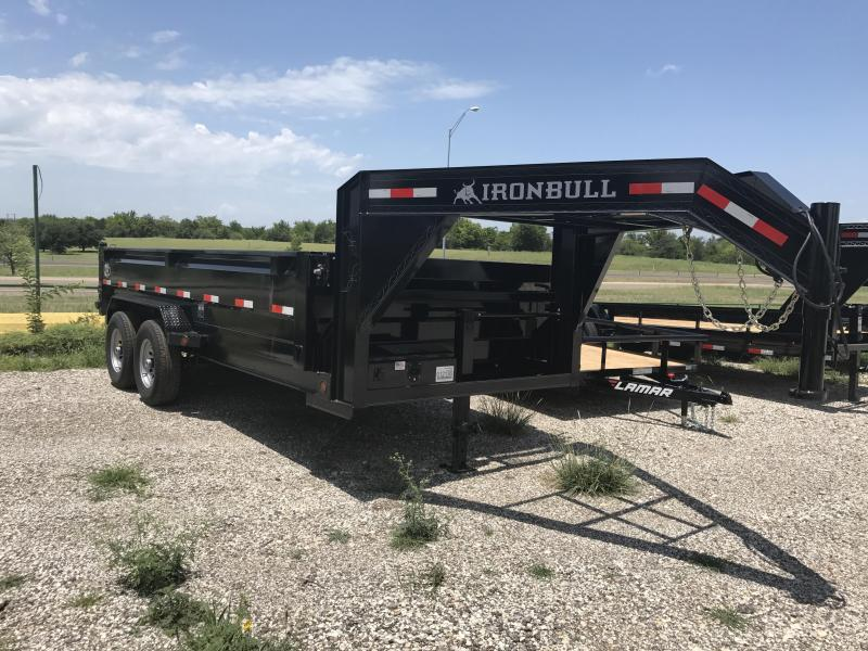 Iron Bull 83x16 3  ft sides GOOSE NECK  DUMP TRAILER POWDER COATED WITH TARP AND RAMP