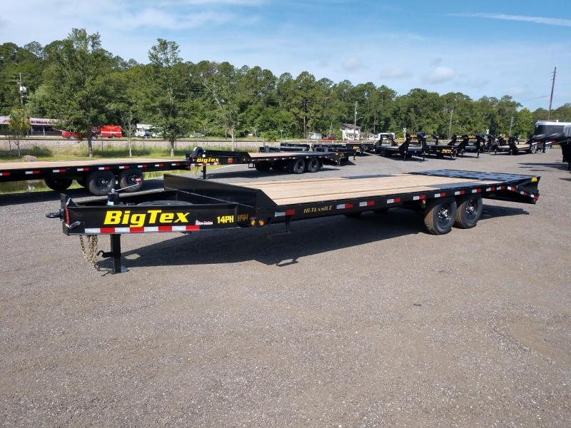 14PH-20BK+5MR BIG TEX 25' FLATBED TRAILER W/ MEGA RAMPS