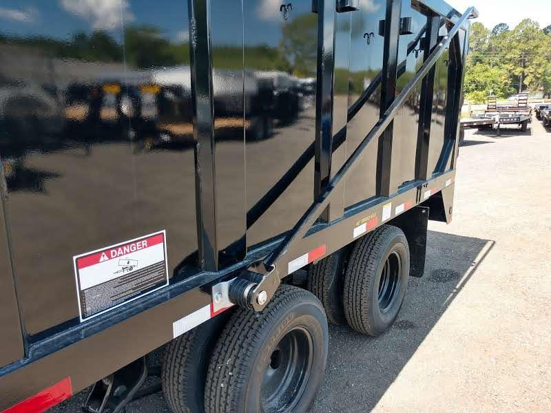 25DU-20 BIG TEX 20' DUAL TANDEM GOOSENECK DUMP TRAILER W/ ROLLER ARM TARP ASSEMBLY