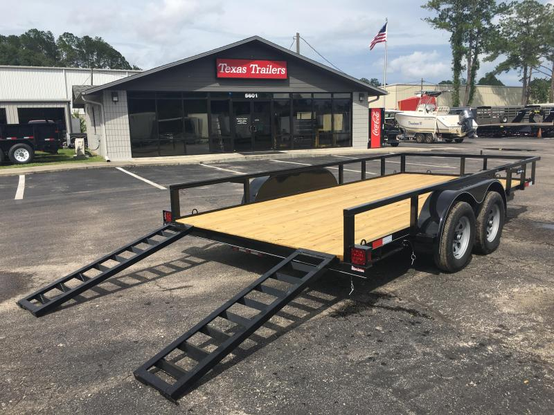 "UT61670-SUR TEXAS TRAILERS 6'10""X16' UTILITY TRAILER W/ 5' SLIDE UNDER RAMPS"