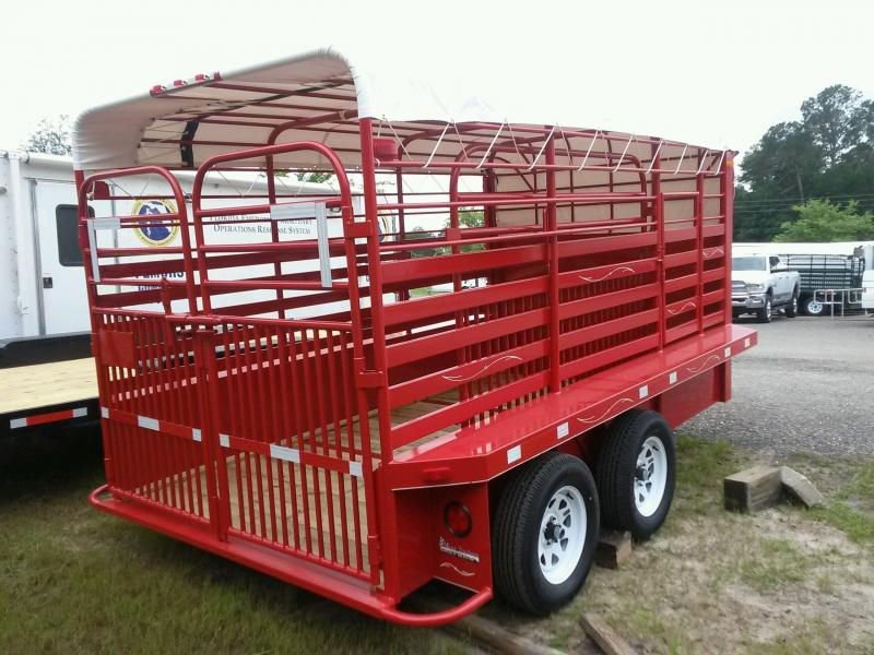 ST1270G TEXAS TRAILERS 12' GOOSENECK STOCK TRAILER W/ ADDED CUT GATE AND COLOR UPGRADE