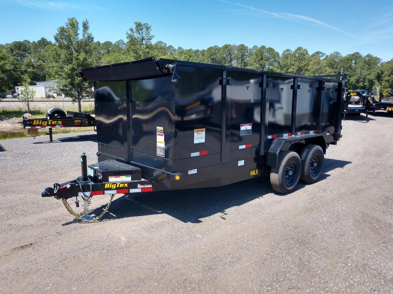 14LX-16BK-P4 BIG TEX 7' X 16' DUMP TRAILER W/ 4' SIDES & TARP INSTALLED
