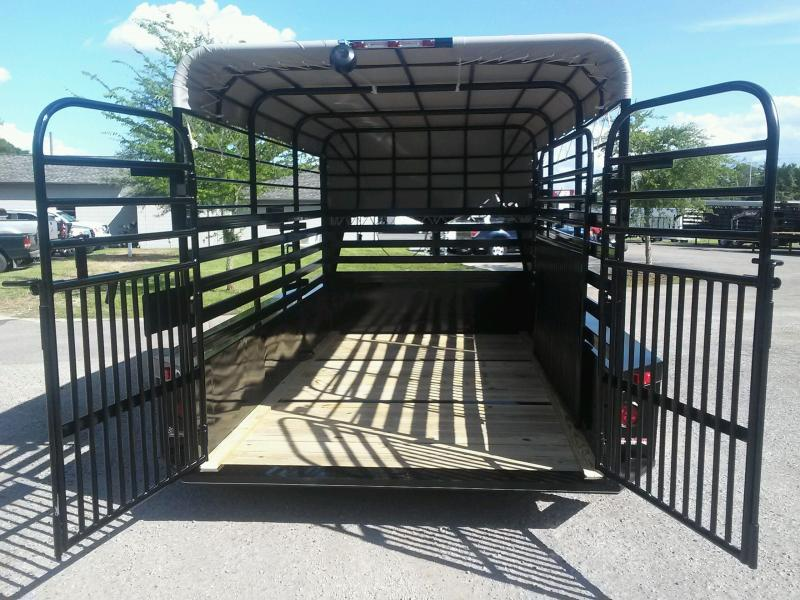 ST1210G TEXAS TRAILERS 12' GOOSENECK STOCK TRAILER W/ OPEN BULKHEAD AND CUSTOM OPTIONS
