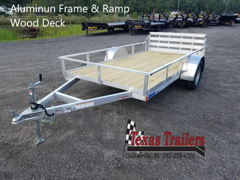 2020 Mission MU72X12WR2.0 6X12 Aluminum frame Folding Ramp Wood Deck Utility Trailer